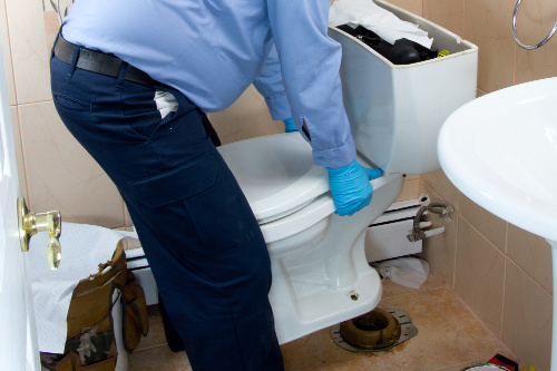 Plumber Replacing a Toilet