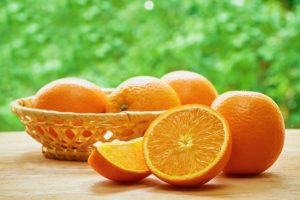 small basket of oranges
